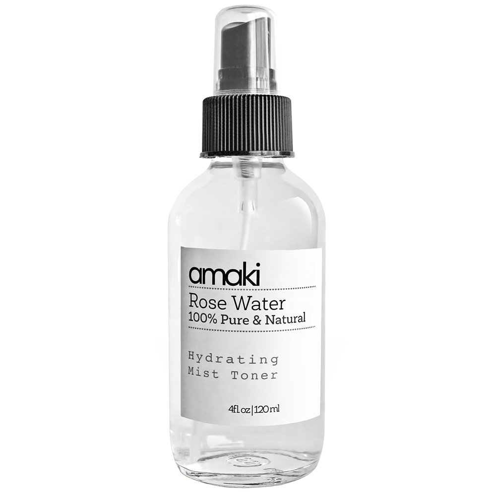 Amaki Pure Rose Water Mist Toner - Alcohol Free - The Best Moisturizer for Mature, Acne Prone Skin Reduce Blackheads, Pimples and Adult Acne While Restoring Hydration Even to Overly Dry Skin