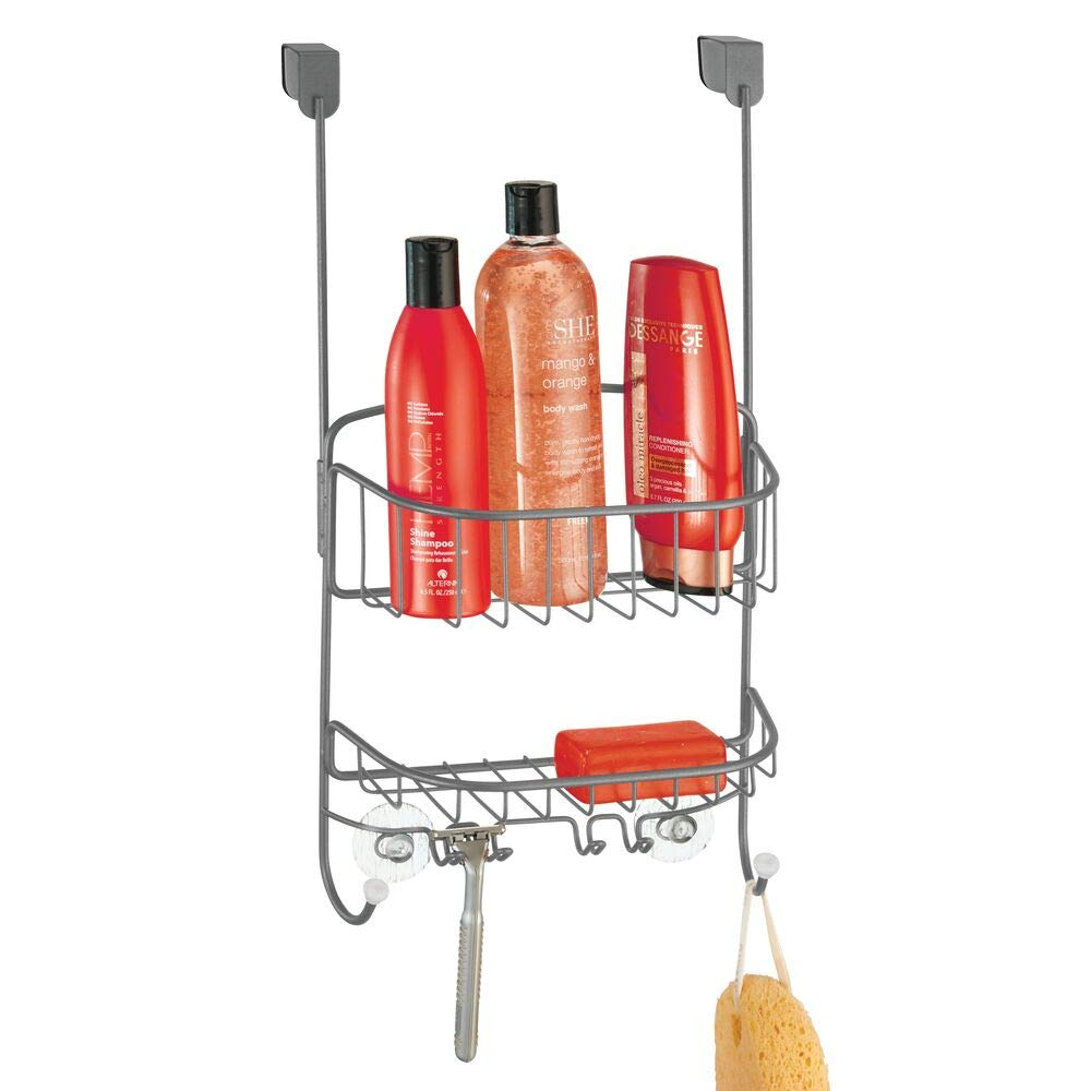 mDesign Modern Metal Wire Over The Bathroom Shower Door Caddy, Hanging Storage Organizer with Built-in Hooks and Baskets for Stall/Tub, Holds Shampoo, Body Wash, Loofahs, Razors - Graphite Gray/White