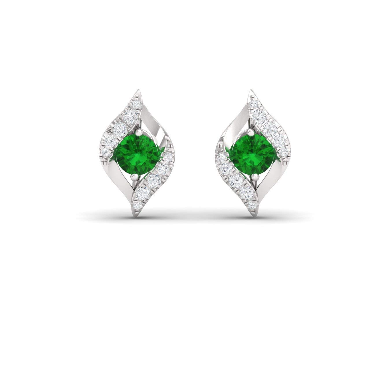 Diamondere Natural and Certified Gemstone and Diamond Bypass Petite Earrings in 14K White Gold | 0.39 Carat Stud Earrings for Women