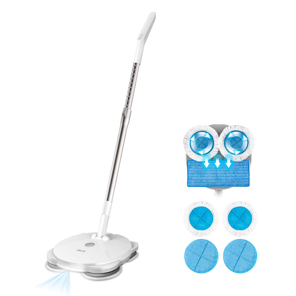 Electric Mop, ENLiF Cordless Electric Spin Mop, Hardwood Floor Cleaner with Built-in 440ml Water Tank, Polisher with Led Headlight and Sprayer, Scrubber for Hard Floor & Tile, Powerful Cleaner and Wax