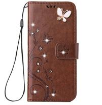 iPhone X/XS Handmade Case,Aulzaju iPhone X/XS Luxury 3D Bling Rhinestone Soft Slim Flip Stand Wallet Cover for iPhone X/XS 5.8 Inch Flower Butterfly PU Leather Diamond Case for Girls Women-Brown
