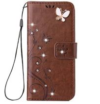 iPhone Xs Max Handmade Case,Aulzaju iPhone Xs Max Luxury 3D Bling Rhinestone Soft Slim Flip Stand Wallet Cover for iPhone Xs Max 6.5 Inch Flower Butterfly PU Leather Diamond Case for Girls Women-Brown