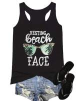 MK Shop Limited Women's Resting Beach Face Sleeveless T Shirt Funny Workout Tank Top