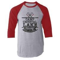 Camp Crystal Lake Counselor Staff Costume Red L Raglan Baseball Tee Shirt