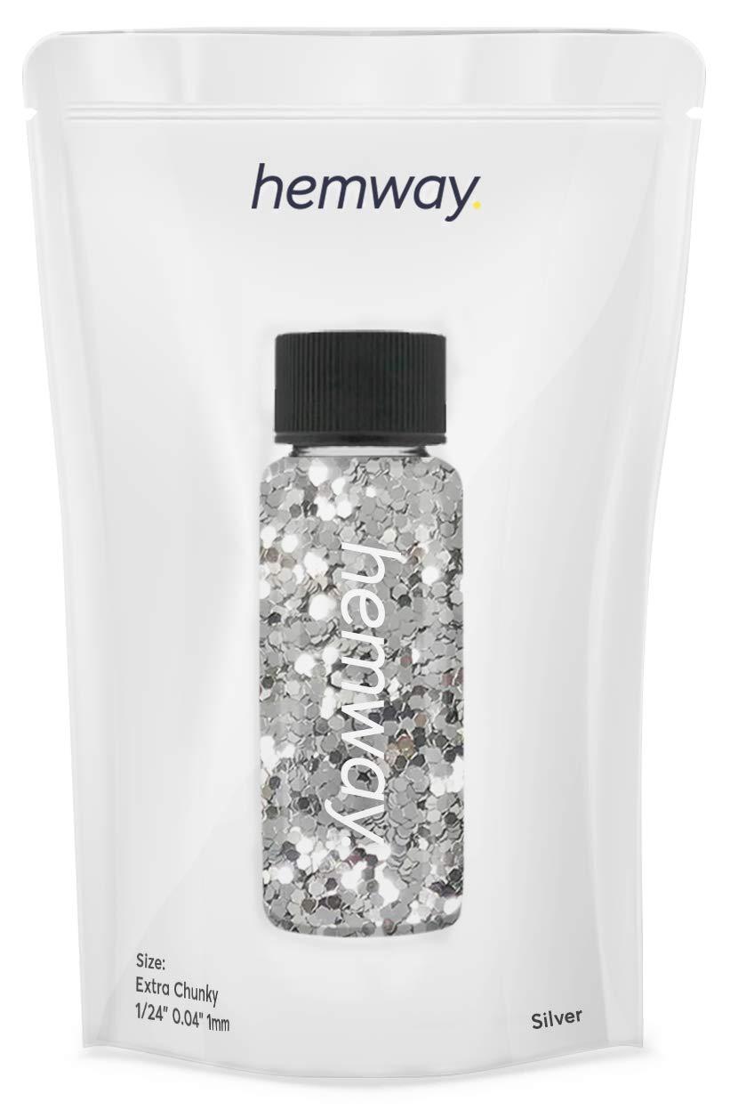 "Hemway Glitter Tube 12.8g / 0.45oz Extra Chunky 1/24"" 0.04"" 1MM Premium Sparkle Gel Nail Dust Art Powder Makeup Pigment Eyeshadow Face Body Eye Cosmetic Safe-(Silver)"