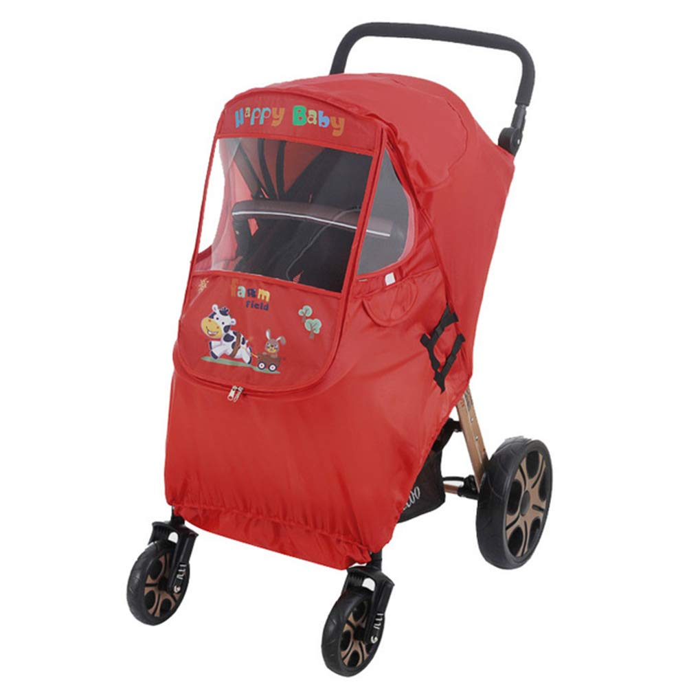 Spring Fever Baby Cartoon Universal Dual Zipper Sun Shade Storage Bag Windproof Clear Rain Dust Cover Travel Stroller Weather Shield Red