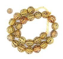 Round Brass Filigree Beads - Full Strand of Fair Trade African Metal Beads - The Bead Chest (24mm, Nest)