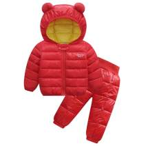 Baby Boys Girls Winter Coat Hood Light Puffer Down Jacket and Pants Outfits Sets