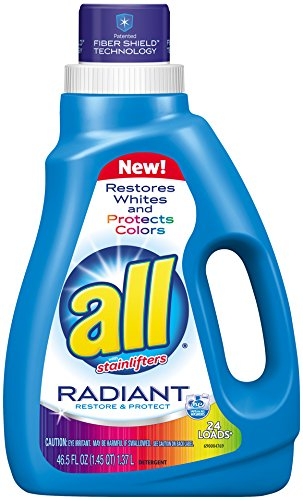 All Liquid Laundry Detergent, Radiant, Restores Whites & Protects Colors, 24 Loads, 46.5 Fluid Ounce