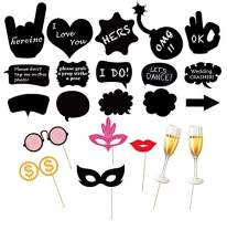 UTOPP 30pcs Party Photo Booth Props, Writable DIY Chalkboard Message Signs Funny Selfie Accessories Decoration for Wedding Bachelorette Birthday Shower Party Supplies - Mix of Glasses, Lips,Bottles