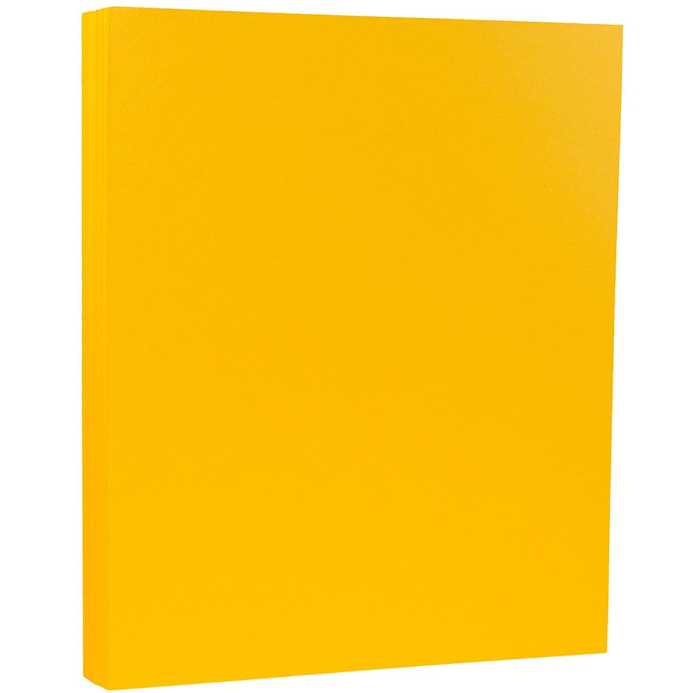 JAM PAPER Matte 80lb Cardstock - 8.5 x 11 Coverstock - Sunflower Yellow - 50 Sheets/Pack