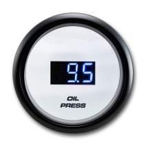 """MOTOR METER RACING Electronic Digital Oil Pressure Gauge PSI 2"""" Blue LED Display Dimmer Waterproof Pin-Style Install"""
