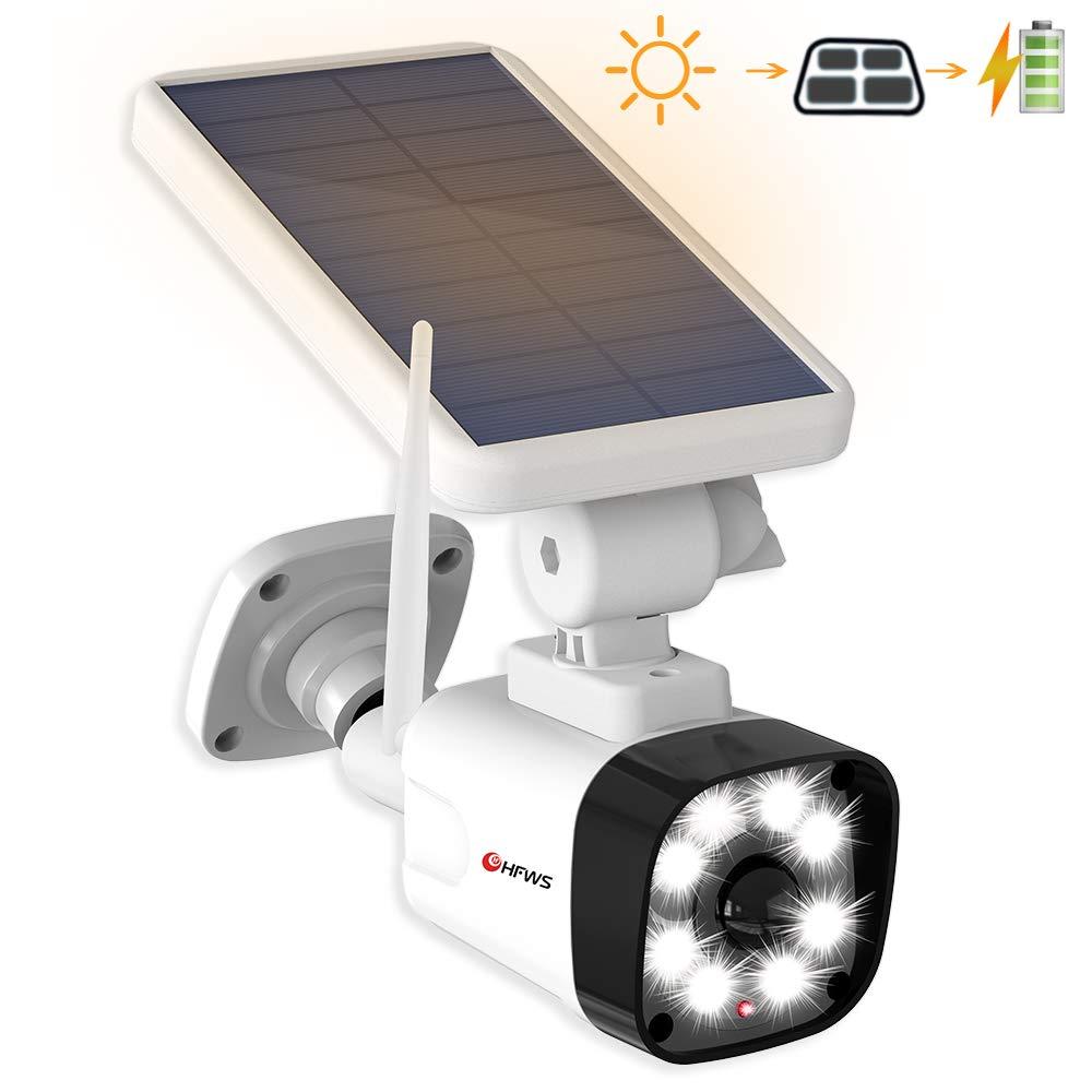 HFWS Solar Motion Sensor Light Outdoor - 800Lumens 8 LED 5W(110W Equiv.) Dummy Camera for Porch Garden Driveway Pathway, HFWS-S1-W