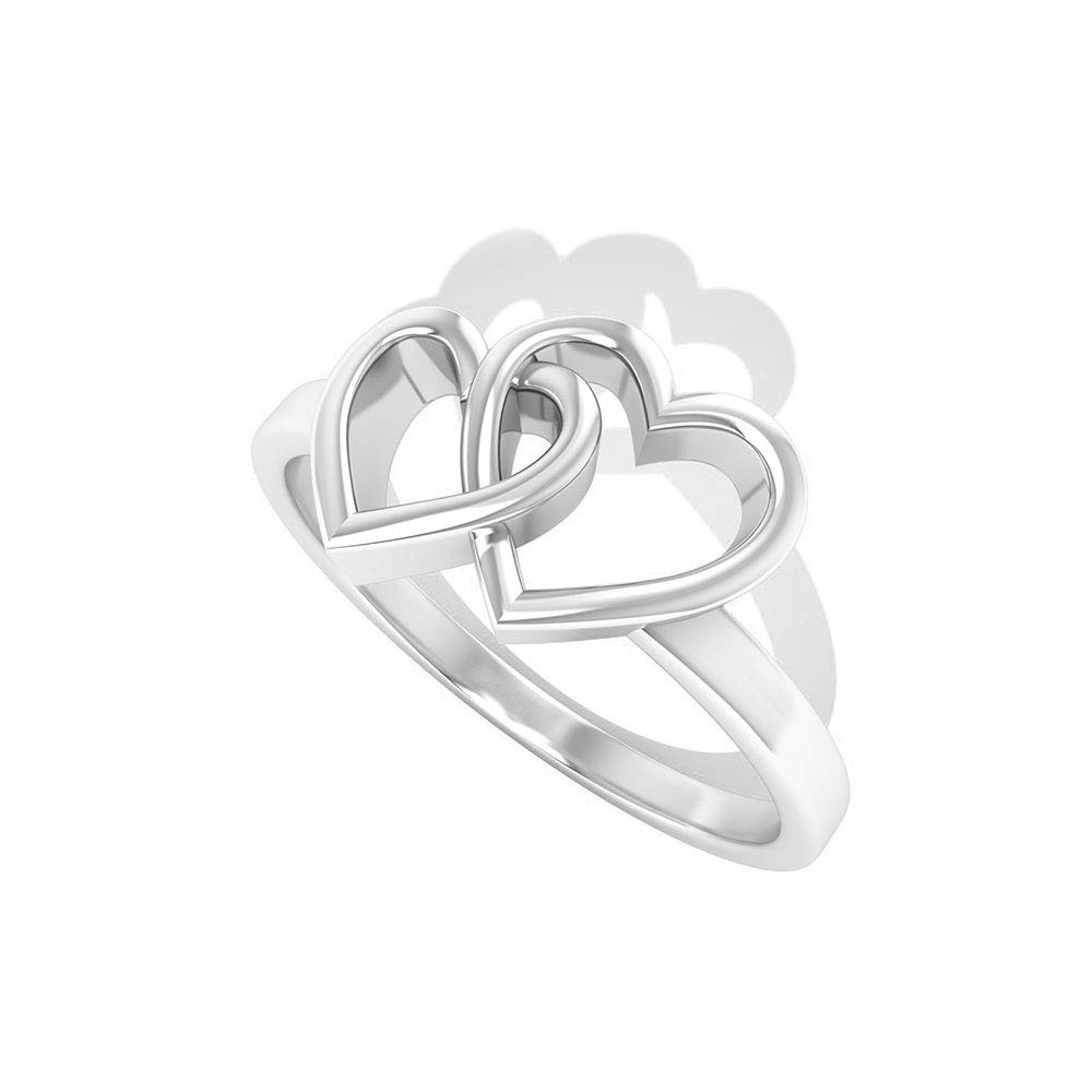 Interlock Double Heart Wedding Ring, Forever Love Promise Ring, Simple Stacking Ring, Bridesmaid Wedding Ring, Valentine Gift for Girlfriend Wife