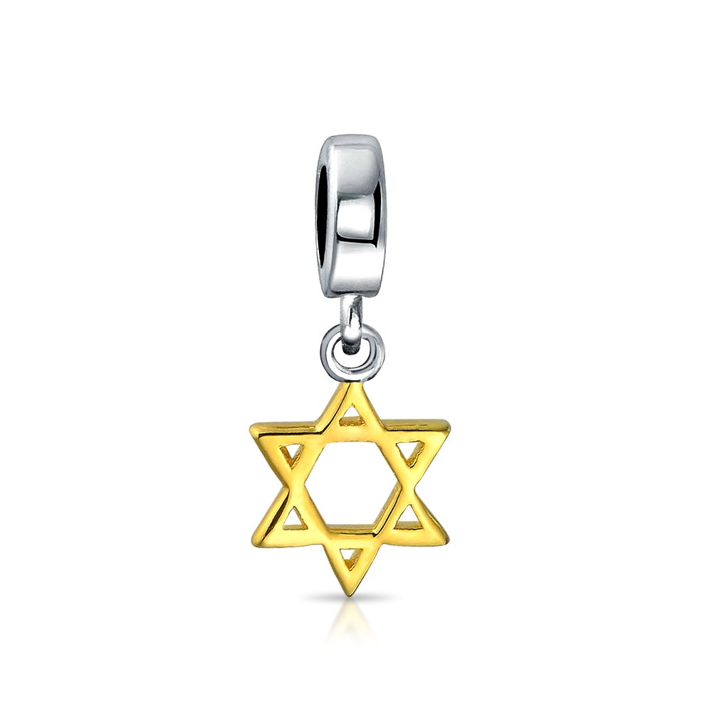 Blue Hanukkah Star Of David Magen Jewish Dangle Charm Bead For Women Gold Plated Sterling Silver Fits European Bracelet