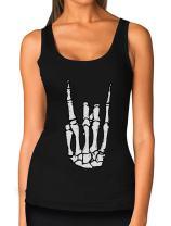 Rock n Roll Skeleton Hand Cool Halloween Women Tank Top
