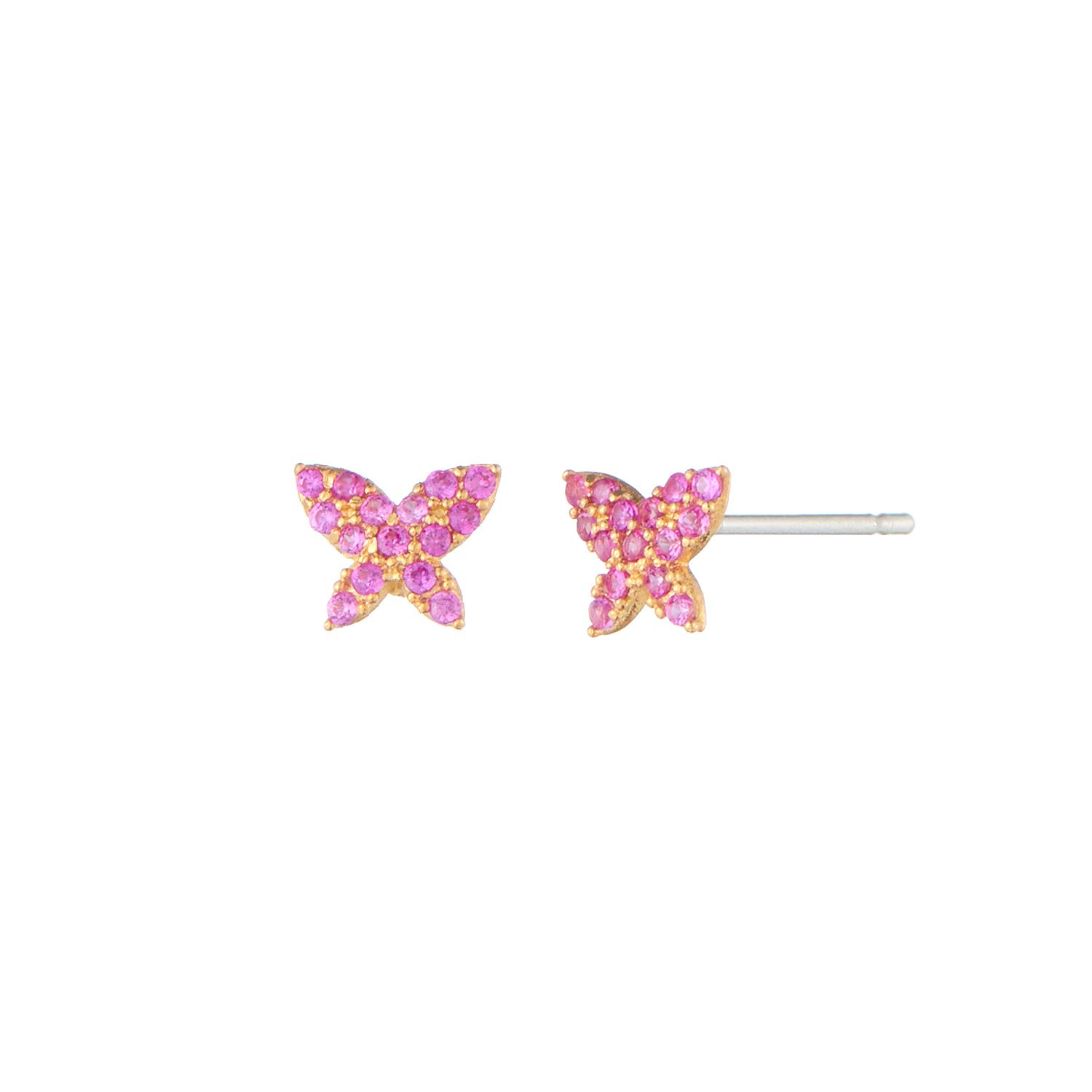 S'SECONDO 925 Sterling Silver Cubic Zirconia Small Butterfly Stud Earring for Women and Girls