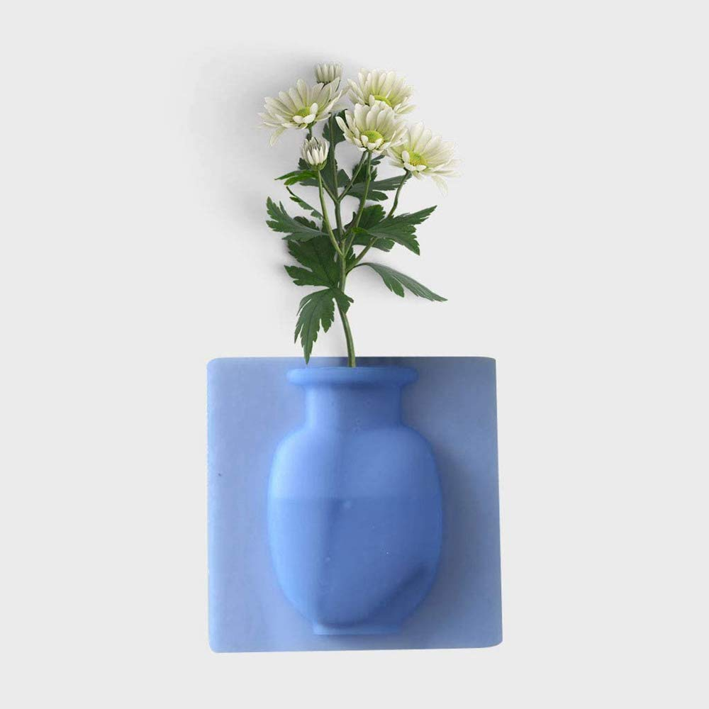 TFUOVOBUNY Silicone Sticky Air Plant Holder, Strong Adhesion Magic Flower Pot Home Kitchen Pot, Reusable Wall Planter, Wal Rubber Small Vase,Removable Silicone Vases 4 pcs(Blue)