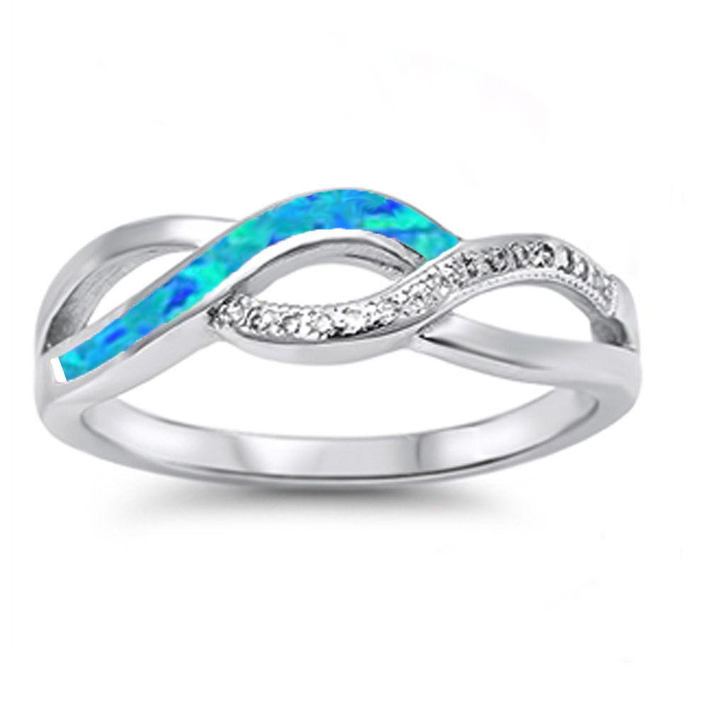 Oxford Diamond Co Lab Created Blue Opal Twisted Band Infinity .925 Sterling Silver Ring Sizes 4-12