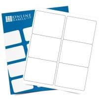 4 x 3.33 Rectangle Shipping Labels - Permanent, White Matte - Wine, Pallet Labels - 6-Up - Pack of 60 Labels, 10 Sheets - Inkjet/Laser Printers - Online Labels