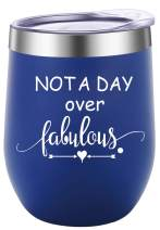 Pufuny Not a Day Over Fabulous Wine Tumbler,Birthday Wine Glass,Perfect Birthday,Wedding,Christmas,Mother's Day,Friend Gifts for Women 12 Oz Blue