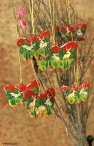 NOVICA Decorative Christmas Forest Butterflies' (Set of 6) Wood Ornaments
