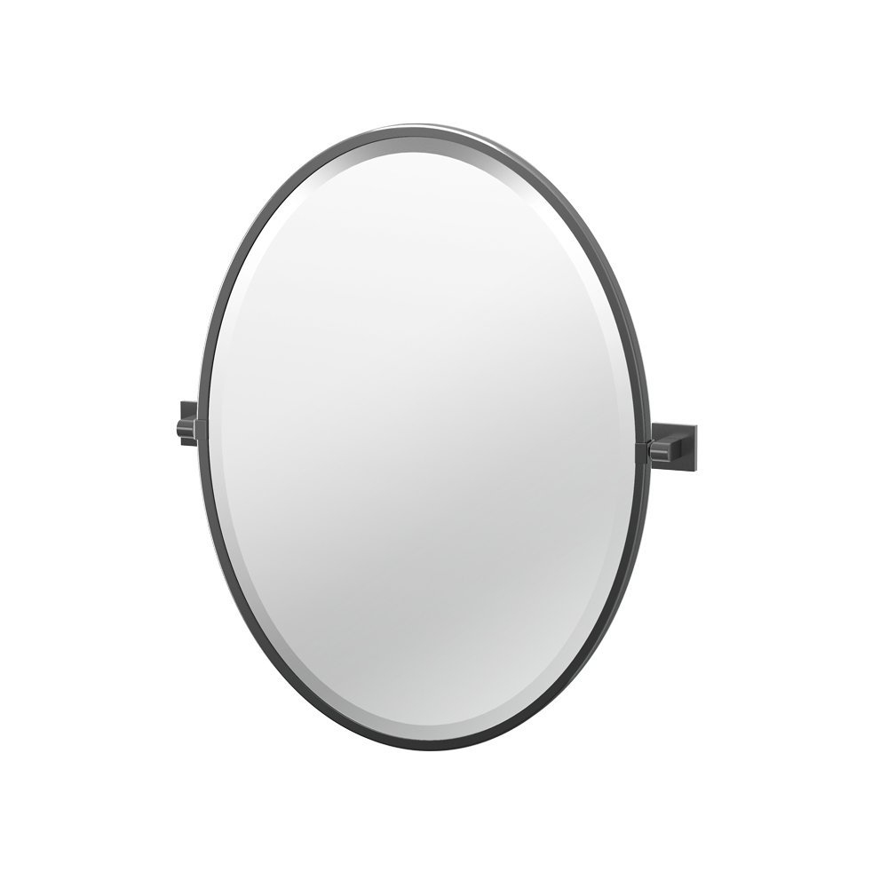 "Gatco 4059MXF Elevate Framed Oval Mirror, Matte Black, 27.5""H"
