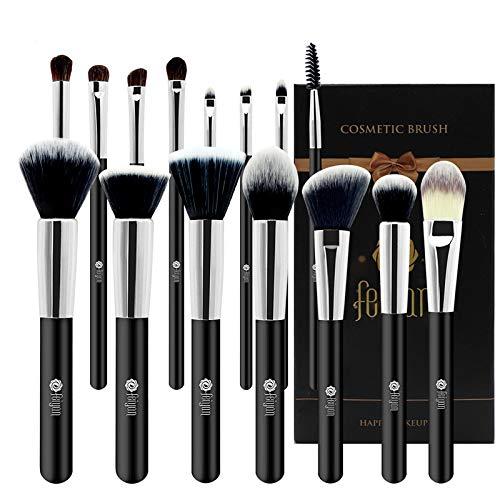 FEIYAN Professional 15 Pcs Makeup Brush Set Premium Synthetic Kabuki Cosmetics Eye Face Lip Foundation Blending Blush Powder Liquid Cream Brush Kit with Bag (Black)