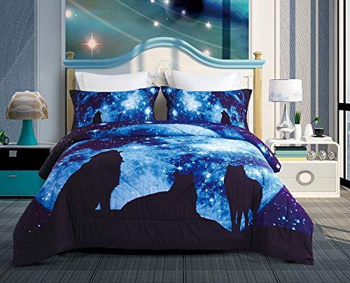 ENCOFT Blue wolfmoon 3D Comforter Bedding Sets Twin/Full/Queen 3 Pieces, Tencel Cotton Wolf Comforter Sets with 2 Pillowcases