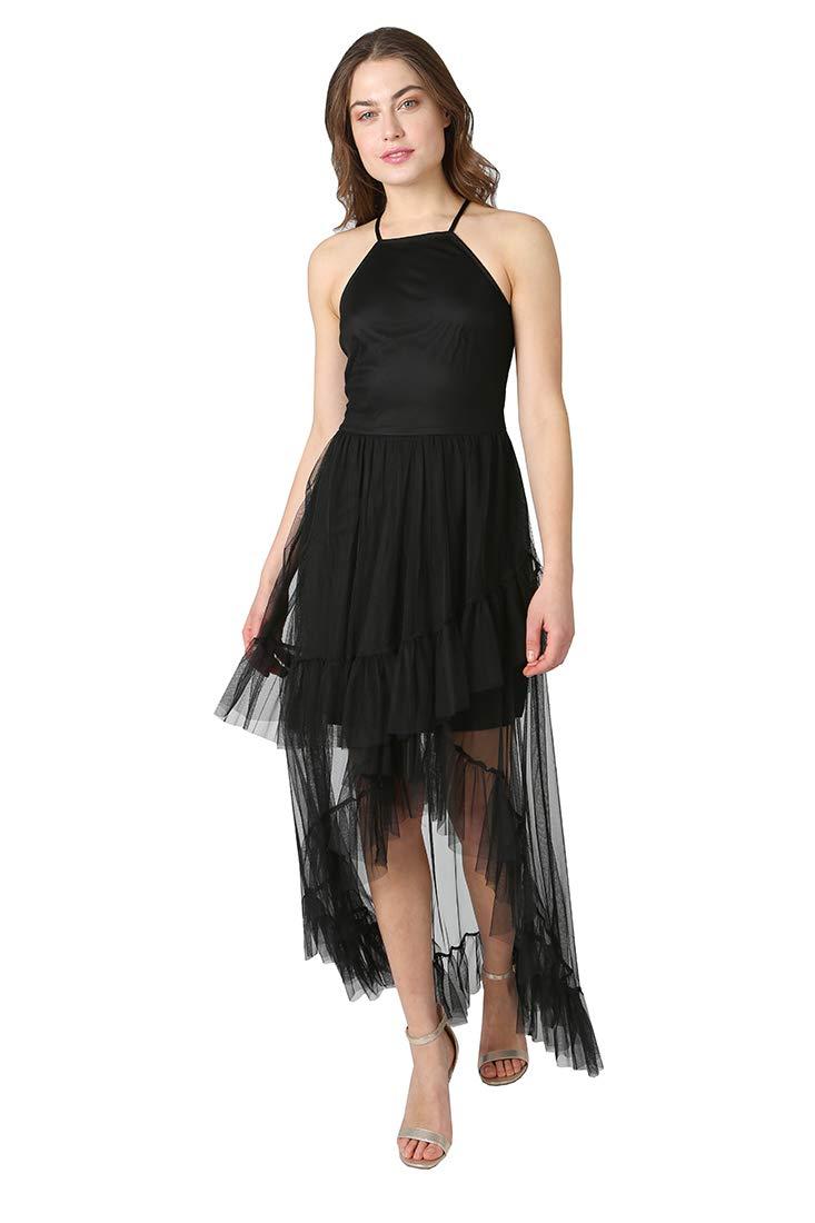 bebe Women's Little Black Dress Halter Neck Slim Bodice with Ruffle Edge Hi Low Hem
