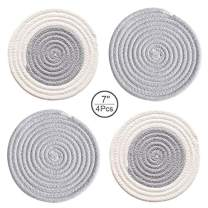 4PCs Potholders Set Trivets Cotton Thread Weave Pot Holders Stylish Coasters Placemats Set Hot Pads 7 inch Round Grey