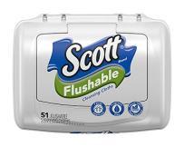 Scott  Flushable Cleansing Cloths, Tub, 51 Count