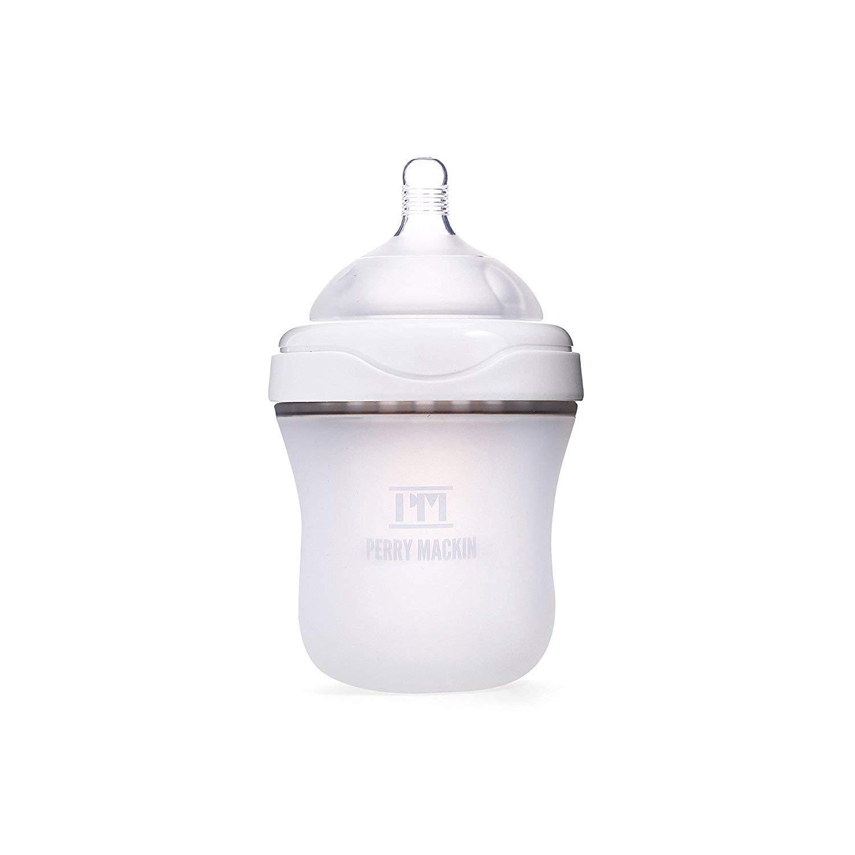 Perry Mackin Baby Bottles, White, 6oz - Natural Feel, Anti-Colic, Award Winning Silicone Baby Bottle