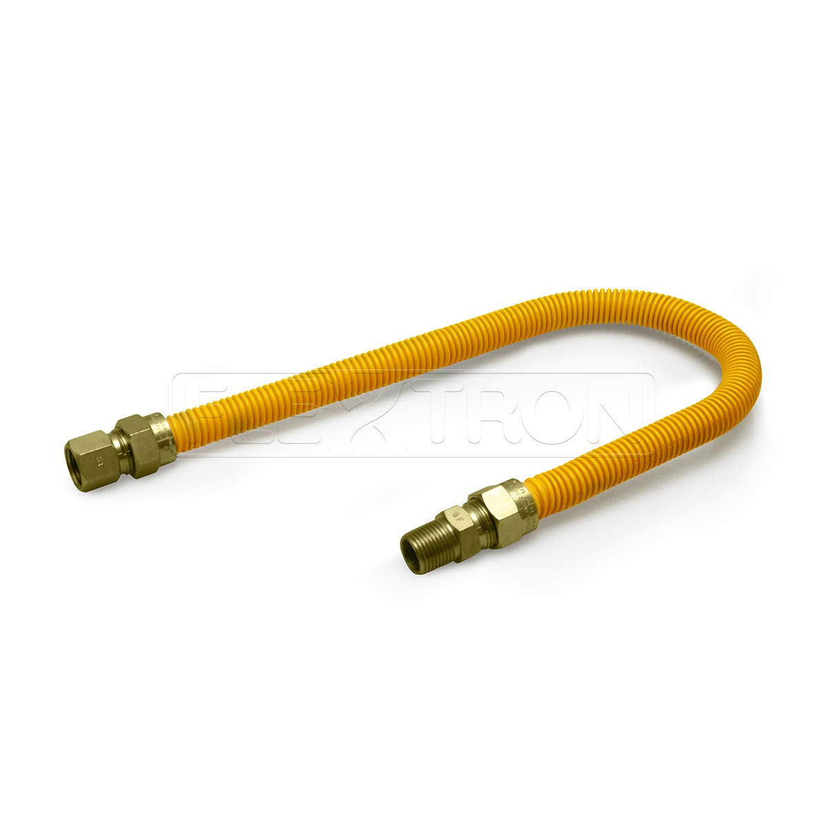 Flextron FTGC-YC12-36C Flexible Epoxy Gas Line, Gas Pipe Connector With 5/8 in. Outer Diameter and 1/2 in. Inside Diameter; 1/2 in. FIP x 1/2 in MIP Fittings; Yellow/Stainless Steel Gas Hose 36 in. Long