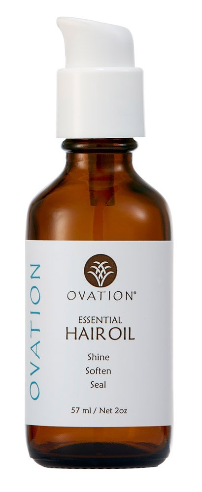 Ovation Essential Hair Oil - Silicone-free. Contains Natural Ingredients Like Avocado and Argan Oil for hair nutrition. Restores bright shine. Safe for Color Treated Hair. Cruelty. Made in the USA.