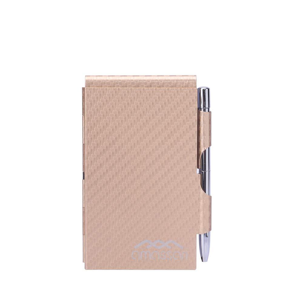 Rose Gold Stripes Pocket Metal Convenient Aluminum Note Case with Mini Pen, Memo & Scratch Pads