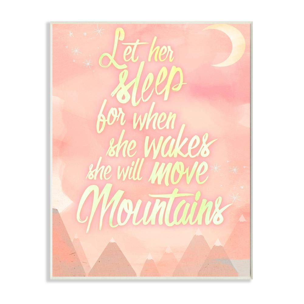 Stupell Home Décor Let Her Sleep Pink Water Color Mountains Wall Plaque Art, 10 x 0.5 x 15, Proudly Made in USA