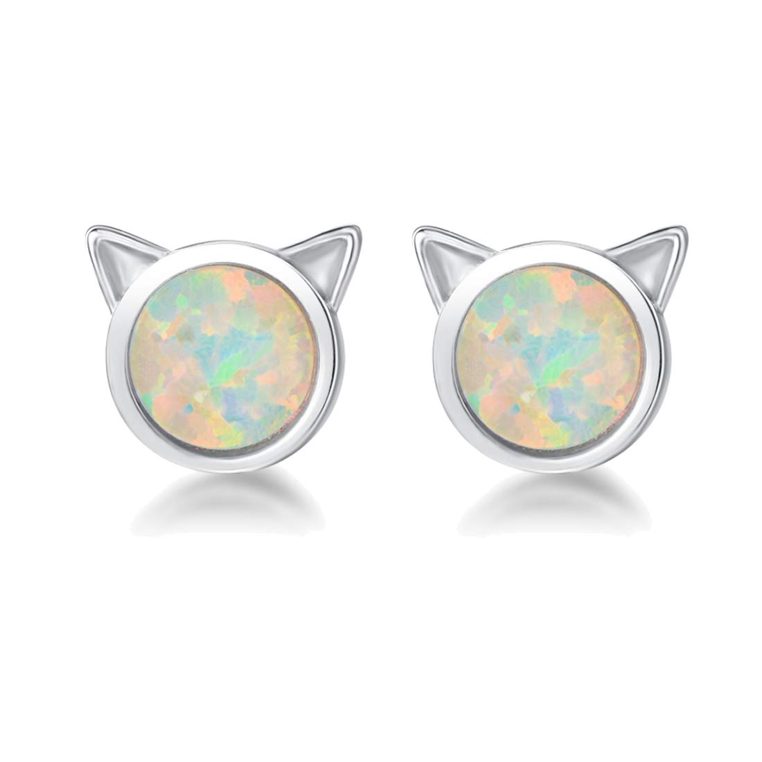Mother's Day Gift | FANCIME Sterling Silver Cat Earrings/Necklace 6mm Created Fire Opal Tiny Cute Dot Round Disc Dainty Minimalist Jewelry Set for Women Girls