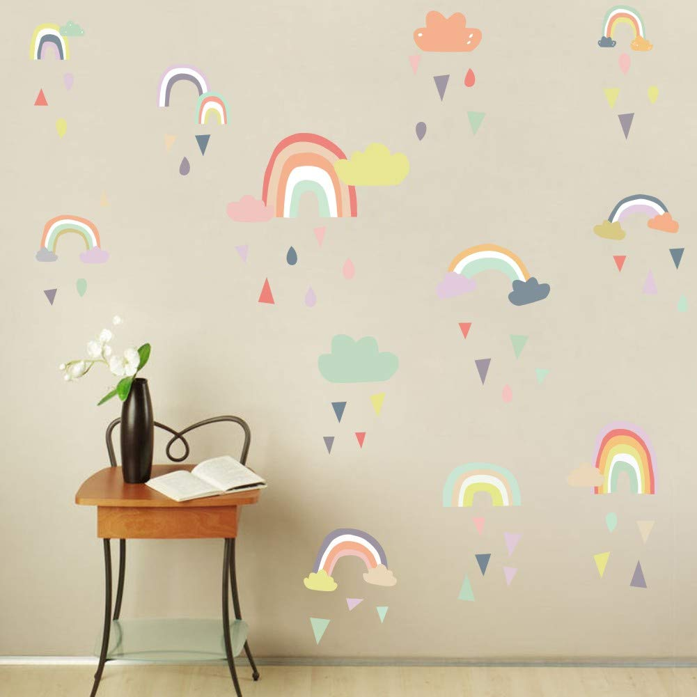 IARTTOP Colorful Rain Rainbows Wall Decal, Raindrop Wall Sticker, Rainbow Wall Sticker for Kids Room Decor, DIY Mural Art Home Decoration