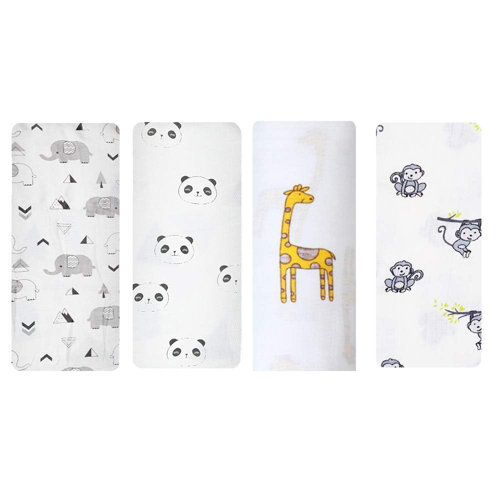 Rajlinen Muslin Swaddle Blanket for Babies, Perfect Shower Gift, Extremely Soft 100% Muslin Cotton Size 47 x 47 inches - Set of 4 - Animal Cloud