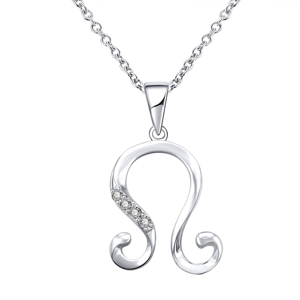 AoedeJ Astrology Constellation Pendant Necklace Sterling Silver CZ Horoscope Necklace Zodiac Sign Chain for Women