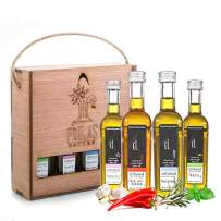 Organic herbs infused Greek extra virgin olive oil gift set, finishing oil flavors basil garlic, red pepper, rosemary, wooden gift set, all-natural, no-additives, 4 X 50 ml (1.7 oz) bottles