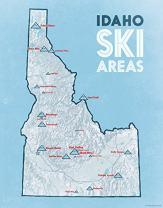 Idaho Ski Resorts Map 11x14 Print (White & Light Blue)