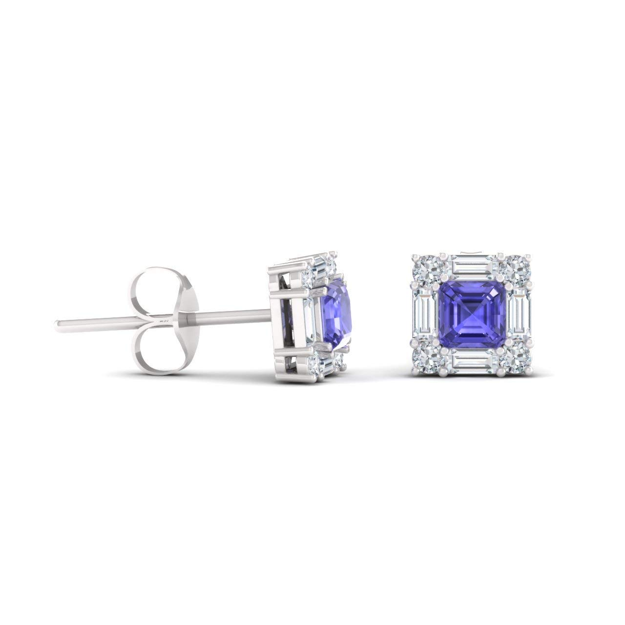 Diamondere Natural and Certified Princess Cut Gemstone and Diamond Halo Petite Earrings in 14K White Gold | 0.92 Carat Stud Earrings for Women