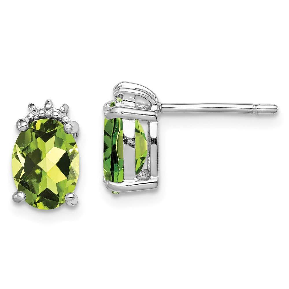 925 Sterling Silver Oval Green Peridot Diamond Post Stud Earrings Drop Dangle Fine Jewelry For Women Gifts For Her