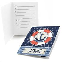 Big Dot of Happiness Ahoy - Nautical - Fill-in Baby Shower or Birthday Party Invitations (8 Count)