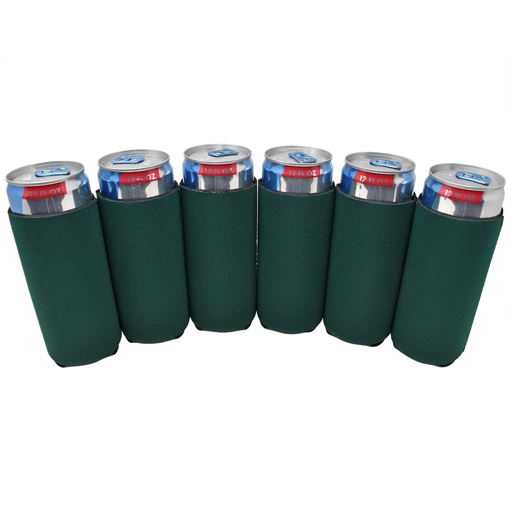 TahoeBay 12 Slim Can Sleeves - Blank Neoprene Beer Coolers – Compatible with 12oz RedBull, Michelob Ultra, White Claw Spiked Seltzer (Forest Green, 12)