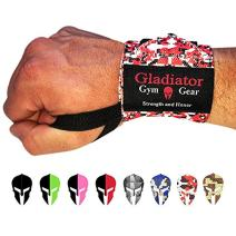 Weight Lifting Wrist Wraps with Thumb Loops - Wrist Support & Protection for Power Lifting Cross Training & Bodybuilding G3 Wrist Straps. Gladiator Gym Workout Gear for Men Women (Red Camo)
