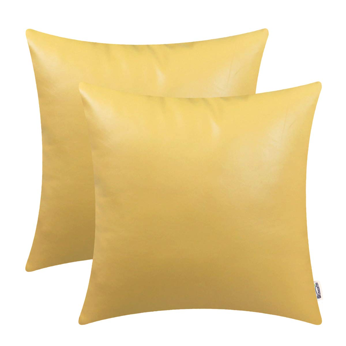 BRAWARM Pack of 2 Cozy Throw Pillow Covers Cases for Couch Sofa Home Decoration Solid Dyed Soft Faux Leather Both Sides 22 X 22 Inches Primrose Yellow