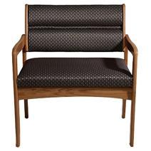 Wooden Mallet DWBA3-1 Valley Bariatric Guest Chair, Medium Oak/Foliage Green
